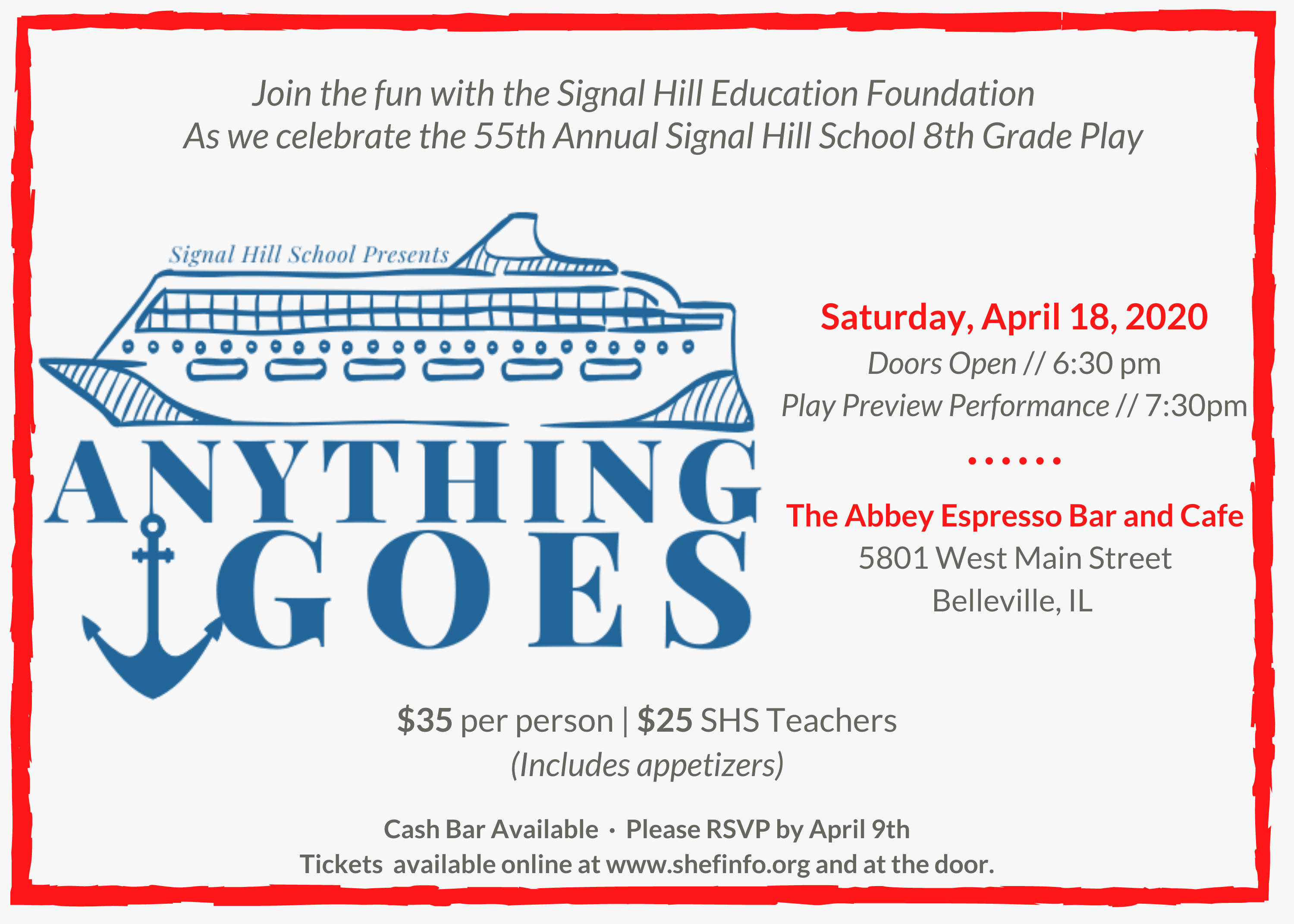 "POSTPONED- ""Anything Goes"" – Preview Party"